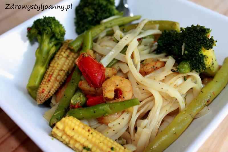 makaron z krewetkami, szybki obiad, fit obiad, zdrowy obiad (, krewetki, makaron, zdrowy syl joanny