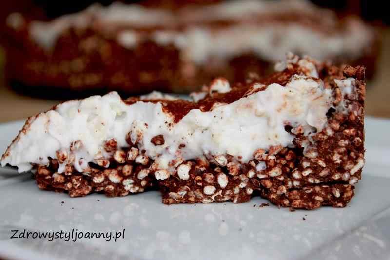 kokosowe ciasto , mleczko kokosowe, zboża ekspnowane, ciasto ze zbożami ekspandowanymi, kremowe ciasto, fit ciasto, dietetyczne ciasto, masa kokosowa, czekoladowe ciasto, zdrowy styl joanny